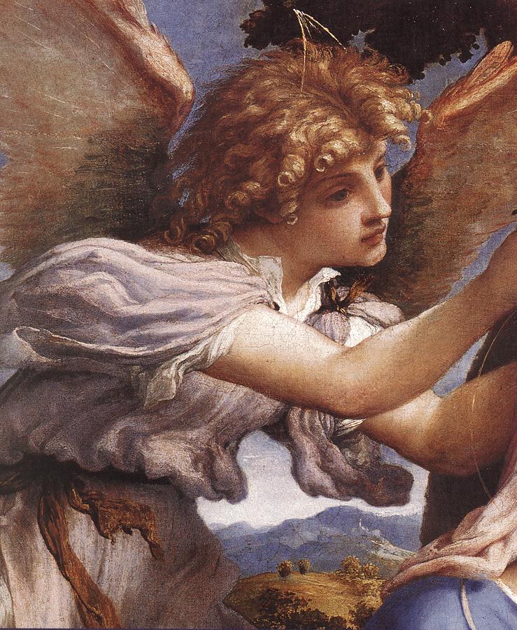 Lorenzo Lotto - Anioł (fragment fresku)