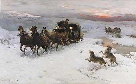 Alfred Wierusz-Kowalski - Napad wilków