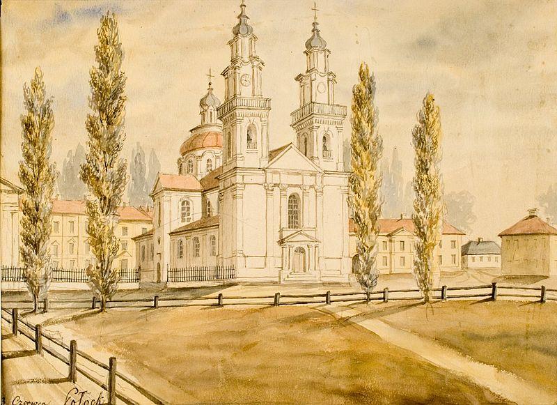 Kościół Jezuitów w Połocku (nieistniejący dziś), w tle klasztor i kolegium. Mal. Napoleon Orda