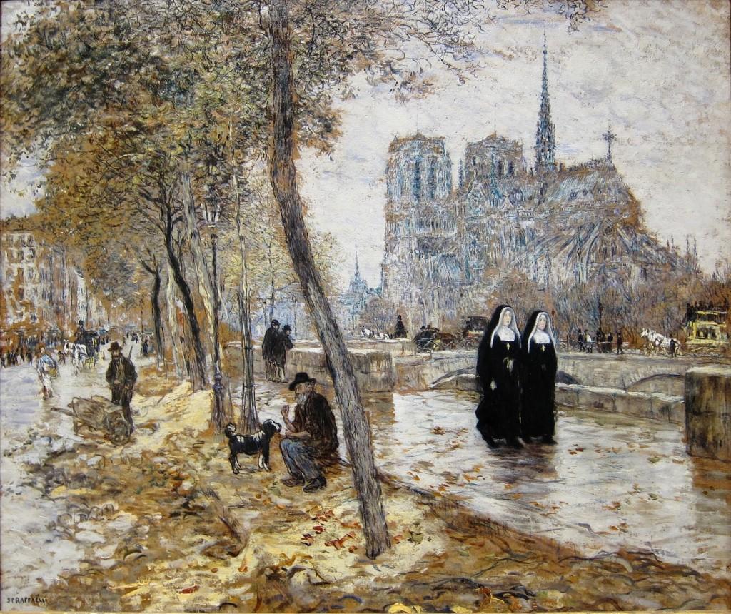 Jean-Francois Raffaelli - Widok na katedrę Notre-Dame w Paryżu