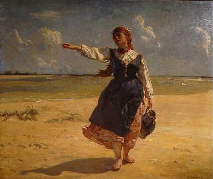 Józef Chełmoński - Dziewczyna z dzbanem