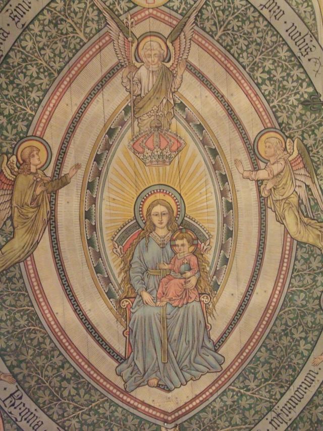 Fresk w Sanktuarium w Gietrzwałdzie przedstawiający objawienie Matki Bozej w 1877 r.