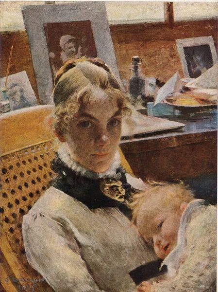 Carl Larsson - Portret młodej matki