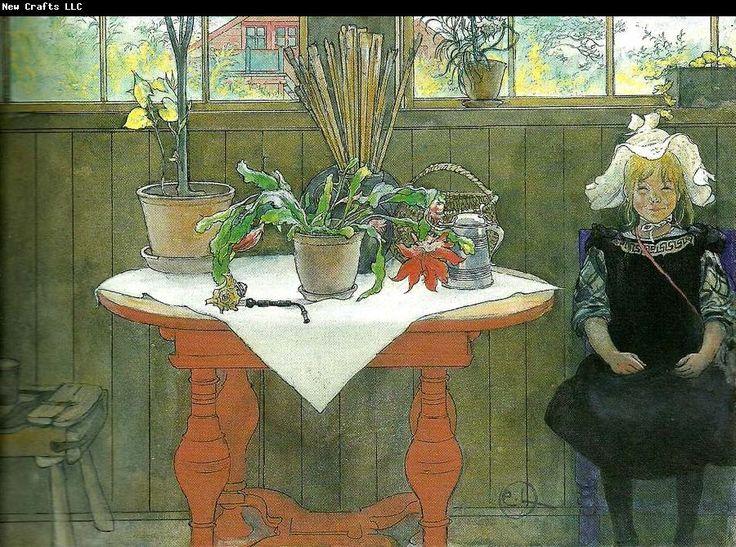 Carl Jarsson - Wnętrze z siedząca dziewczynką