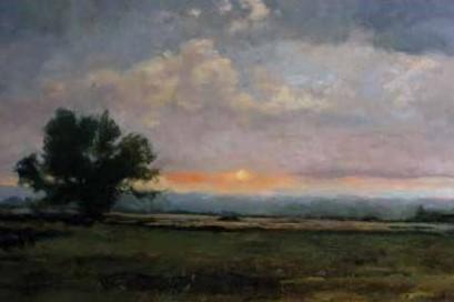 Elżbieta Hałasa - Pejzaż o zachodzie (fragm.), 2011, olej na płótnie