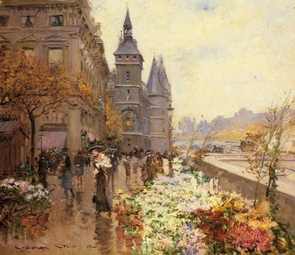 Georges Stein - Targ kwiatów w Paryżu