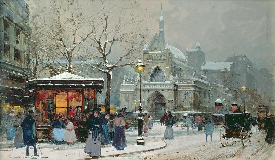 Eugene Galien-Laloue - Zima na ulicy paryskiej